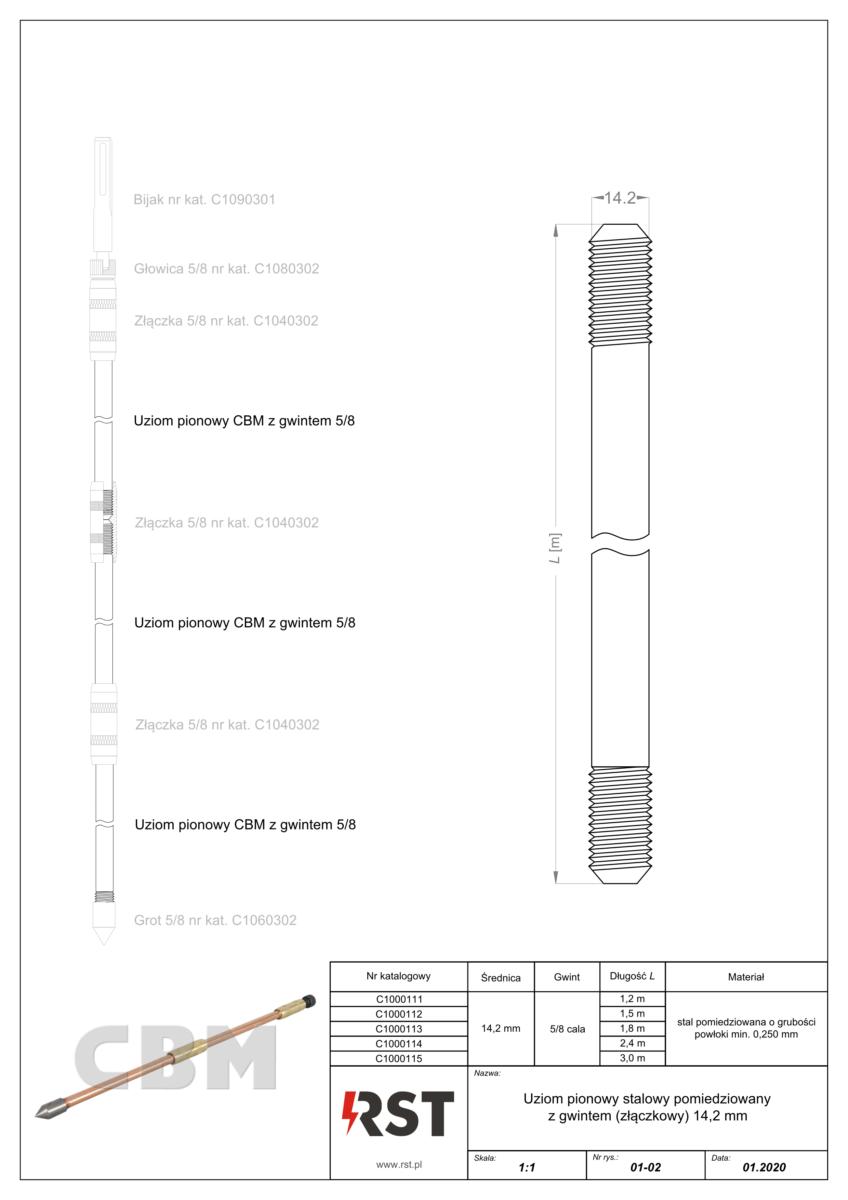 Uziom pionowy StCu z gwintem 14.2 mm CBM C100011x