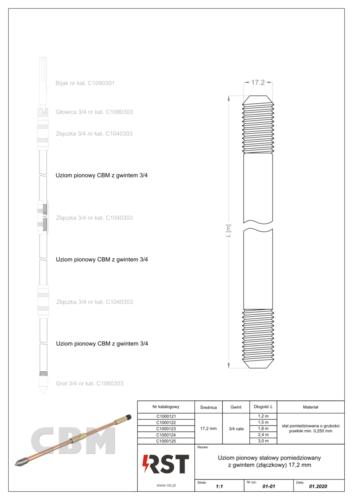 Uziom pionowy StCu z gwintem 17.2 mm CBM C100012x