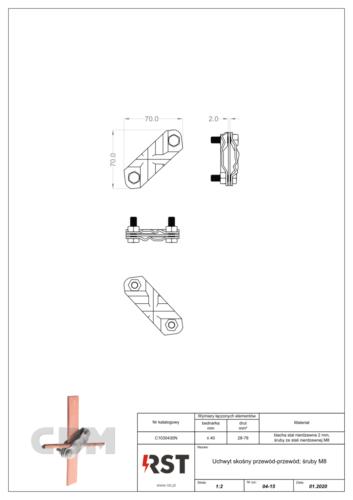 Uchwyt skośny przewód-przewód CBM C1030430N