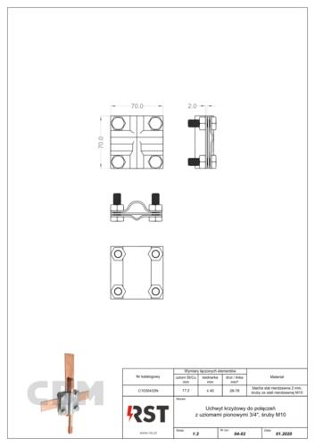 """Uchwyt krzyżowy do połączeń z uziomami 3/4"""" (śruby M10) CBM C1030433N"""