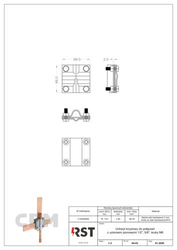 """Uchwyt krzyżowy do połączeń z uziomami 5/8"""" (śruba M8) CBM C1030495N"""