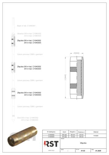 Złączka do uziomów z gwintem CBM C104030x