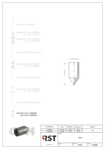 Grot do uziomów z gwintem CBM C106030x
