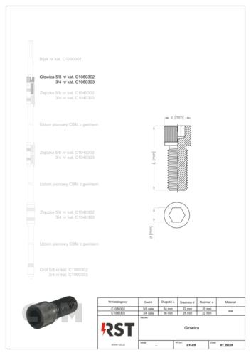 Glowica do uziomów z gwintem CBM C108030x