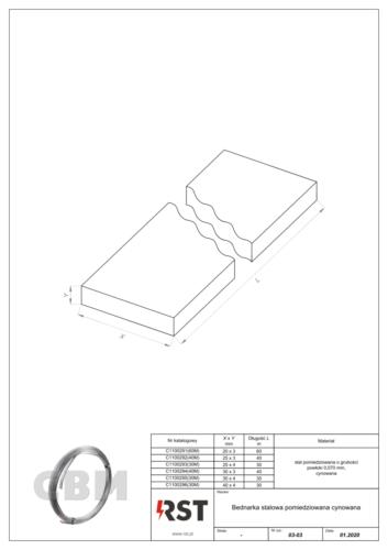 Bednarka stalowa pomiedziowana cynowana StCuSn CBM C110029x